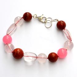 Silver bracelet with pink stones