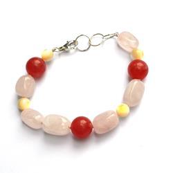 Silver bracelet with rose quartz and rhodochrosite