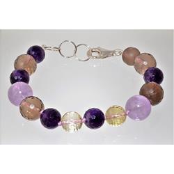 Braccialetto con pietre dure e argento - color viola